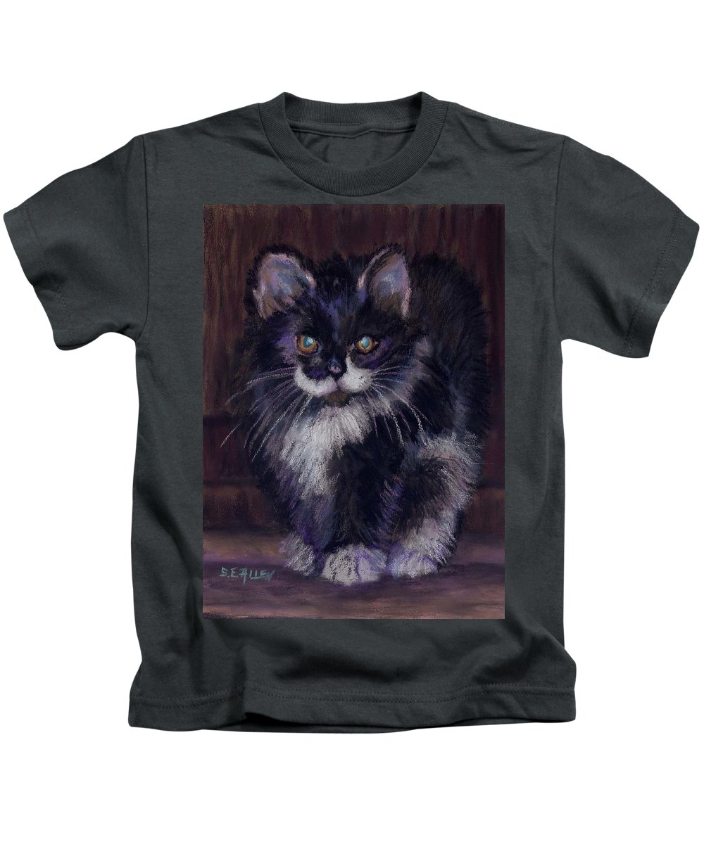 Kitten Kids T-Shirt featuring the painting Ready For Trouble by Sharon E Allen