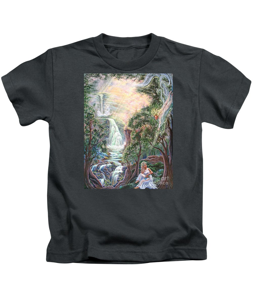 Spiritual Kids T-Shirt featuring the painting Ready To Fly by Joyce Jackson