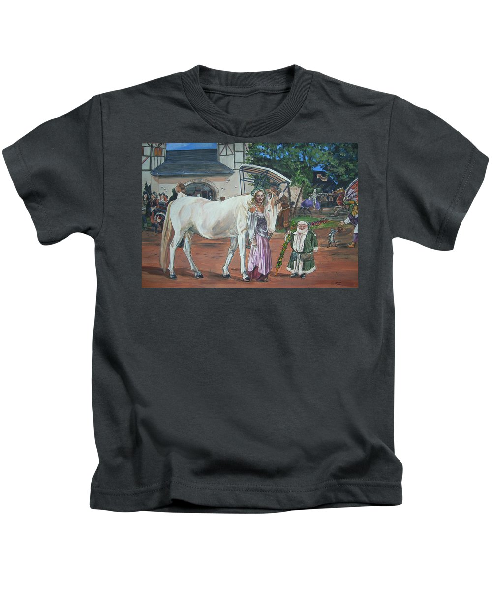 Renaissance Kids T-Shirt featuring the painting Real Life In Her Dreams by Bryan Bustard