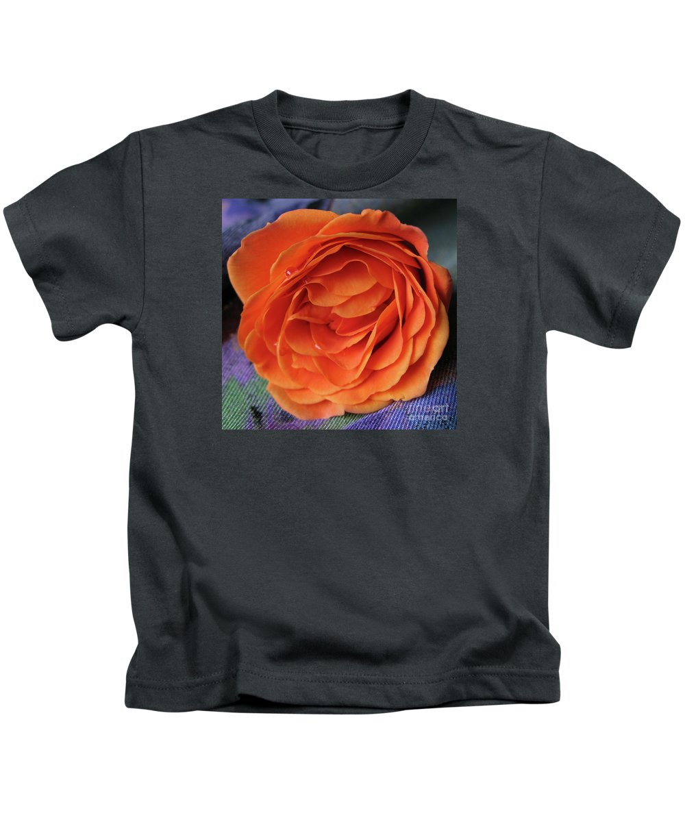 Rose Kids T-Shirt featuring the photograph Really Orange Rose by Ann Horn