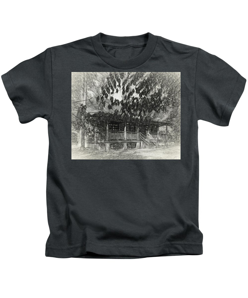 Cabin Kids T-Shirt featuring the photograph Rear Of Cabin by Thomas Fields