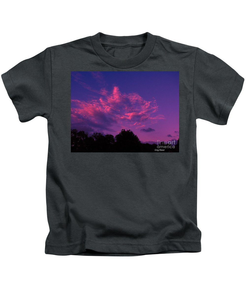 Night Scape Kids T-Shirt featuring the photograph Red Blue Sky by Greg Patzer