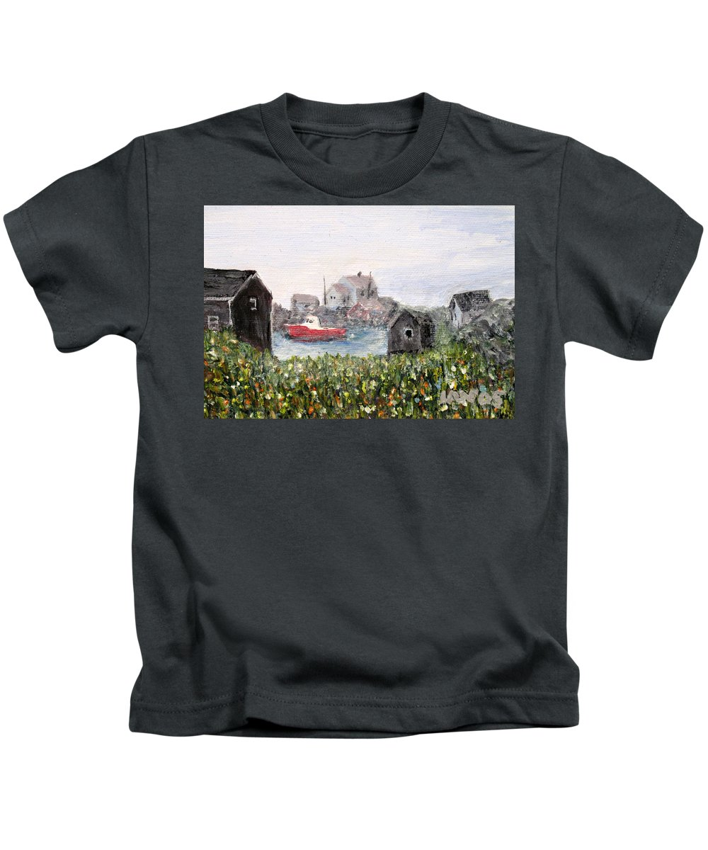 Red Boat Kids T-Shirt featuring the painting Red Boat In Peggys Cove Nova Scotia by Ian MacDonald