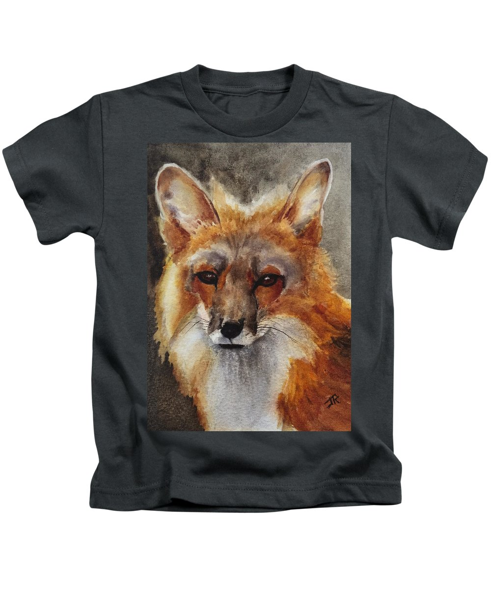 Wildlife Kids T-Shirt featuring the painting Red Fox by June Rollins