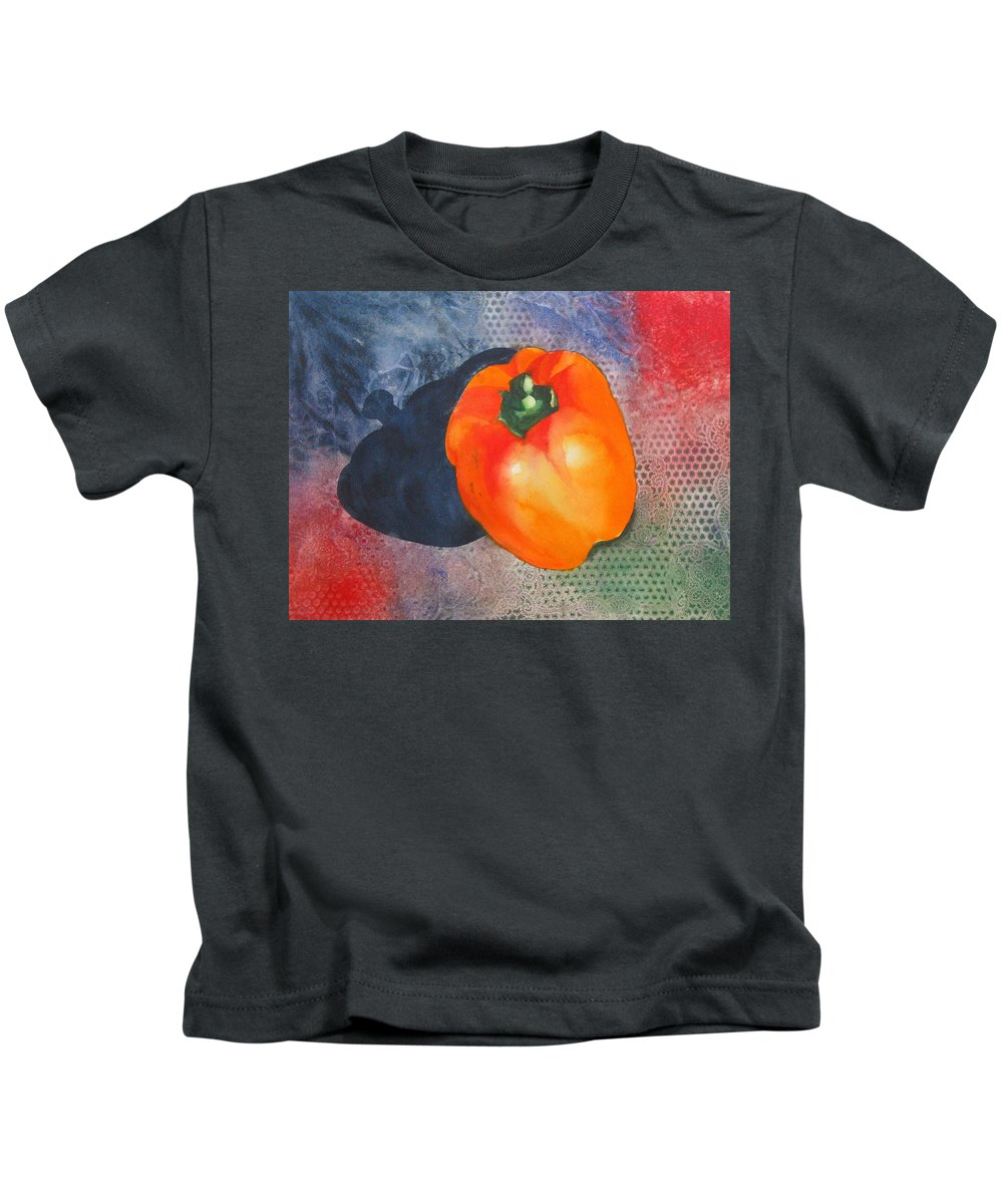 Pepper Kids T-Shirt featuring the painting Red Pepper Solo by Jean Blackmer
