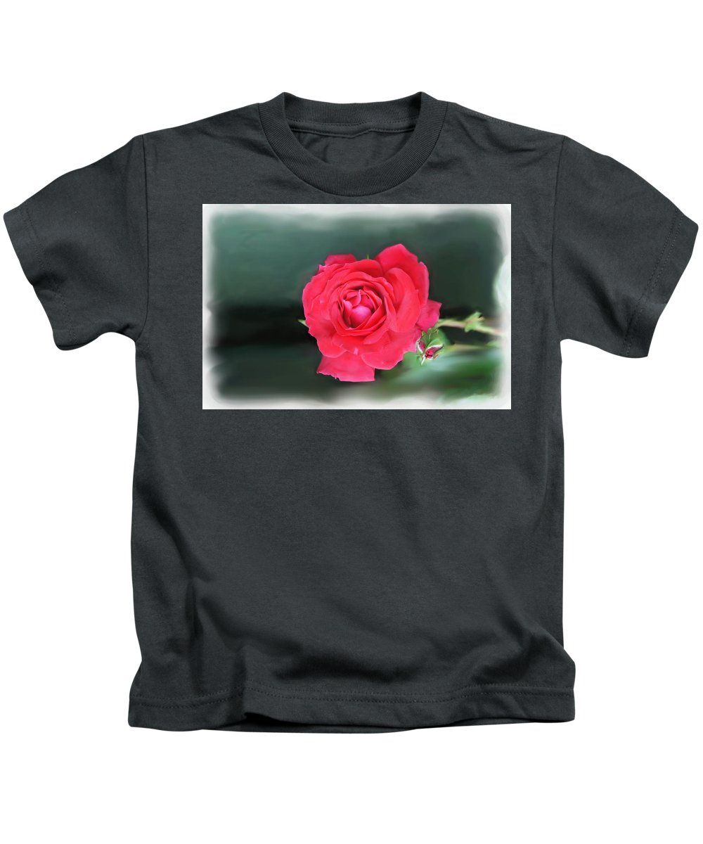 Red Rose Kids T-Shirt featuring the photograph Red-red Rose. by Elena Perelman