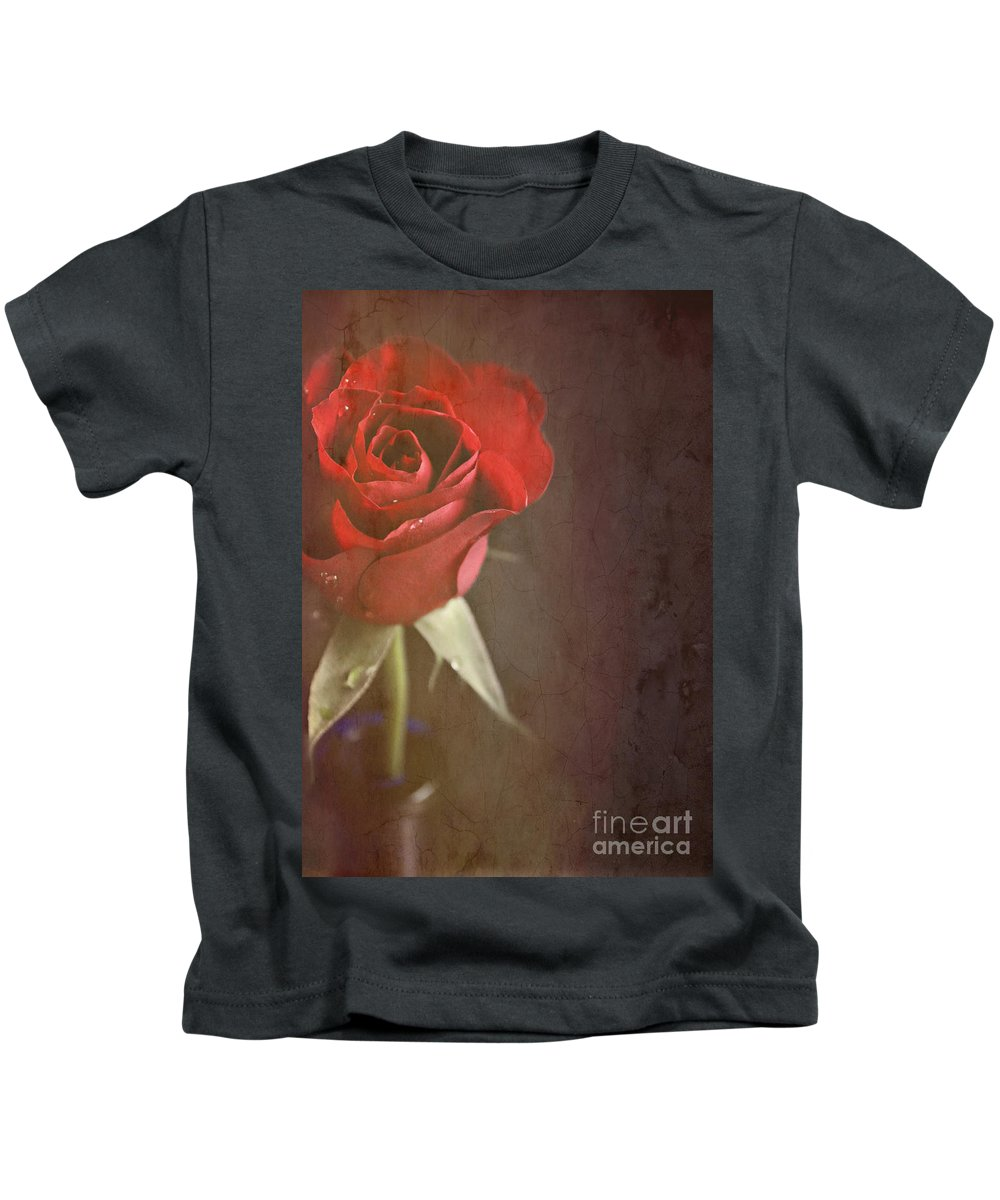 Still Life Kids T-Shirt featuring the photograph Red Rose by Lyn Randle