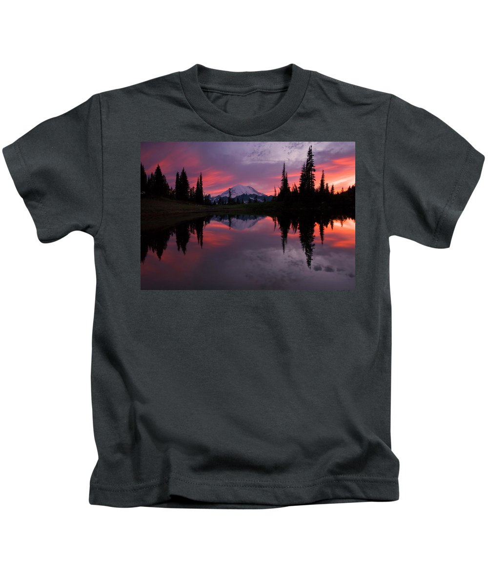 Rainier Kids T-Shirt featuring the photograph Red Sky At Night by Mike Dawson