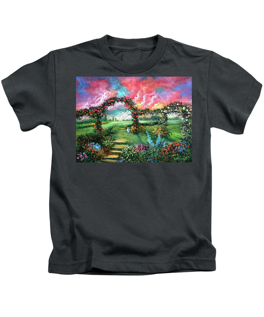 Sky Kids T-Shirt featuring the painting Red Sky Garden by Randy Burns