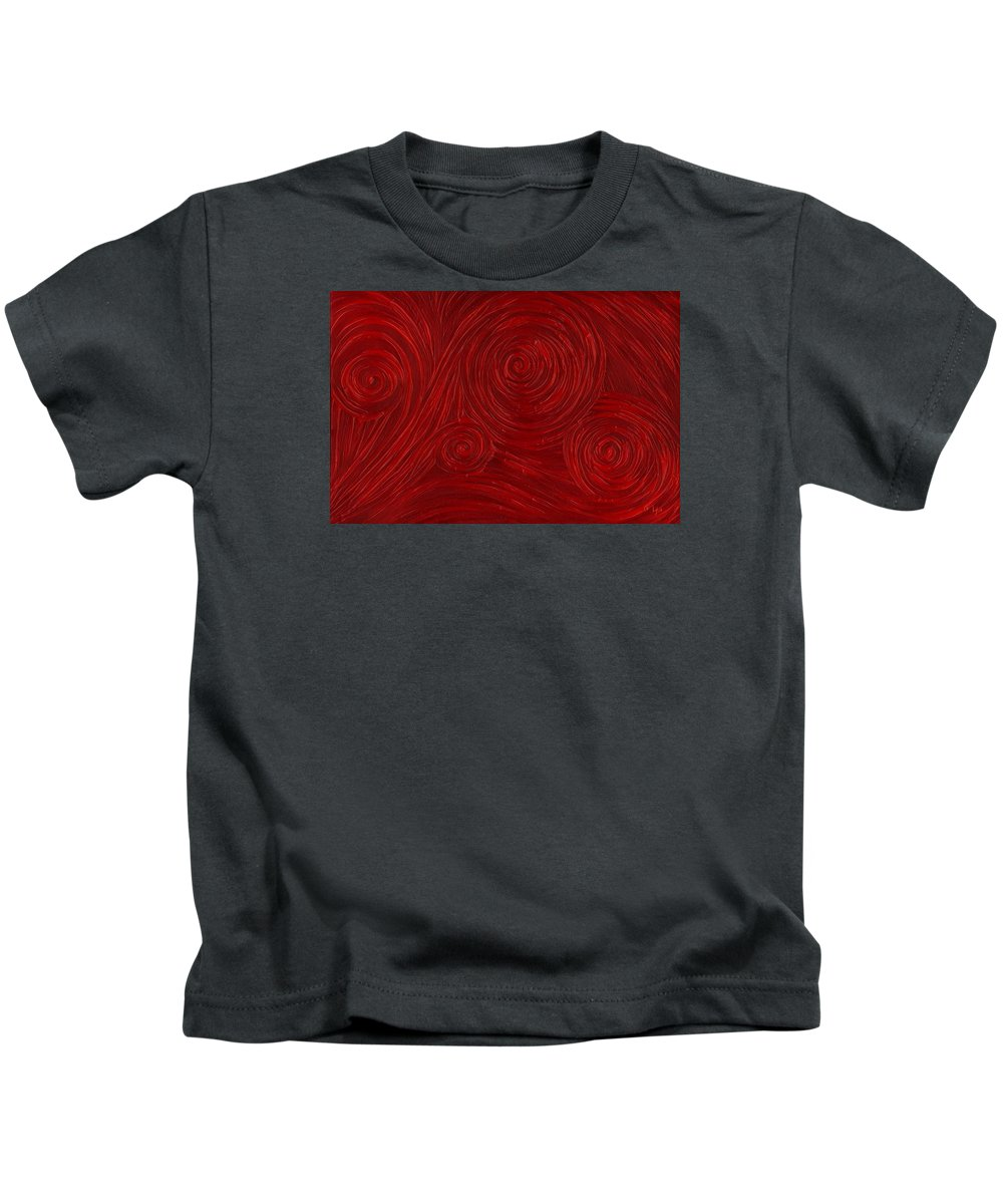 Abstract Kids T-Shirt featuring the painting Red Swirl by Laura Teti