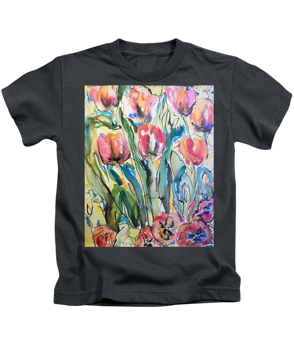 Plants Kids T-Shirt featuring the painting Red Tulips by Evelyn Bell Vodicka