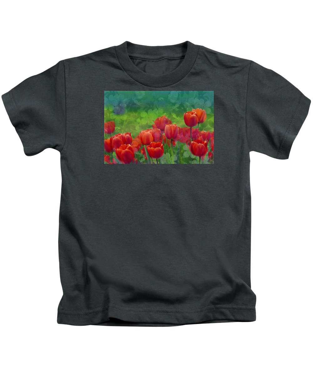 Tulips Kids T-Shirt featuring the mixed media Red Tulips by Georgiana Romanovna
