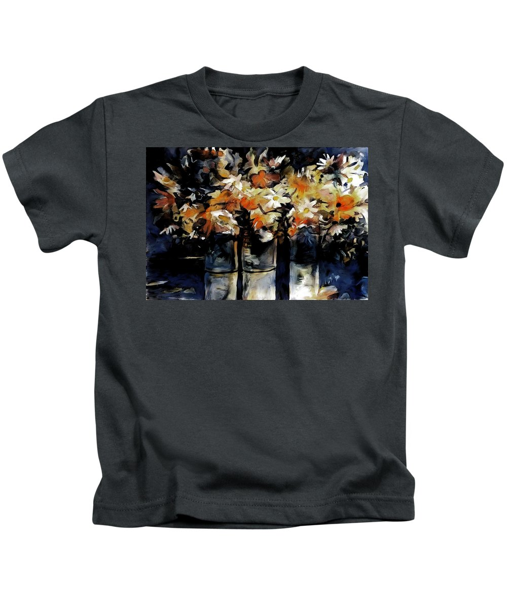 Red Flowers Kids T-Shirt featuring the painting Red White And Blue Still Life by David Pennell