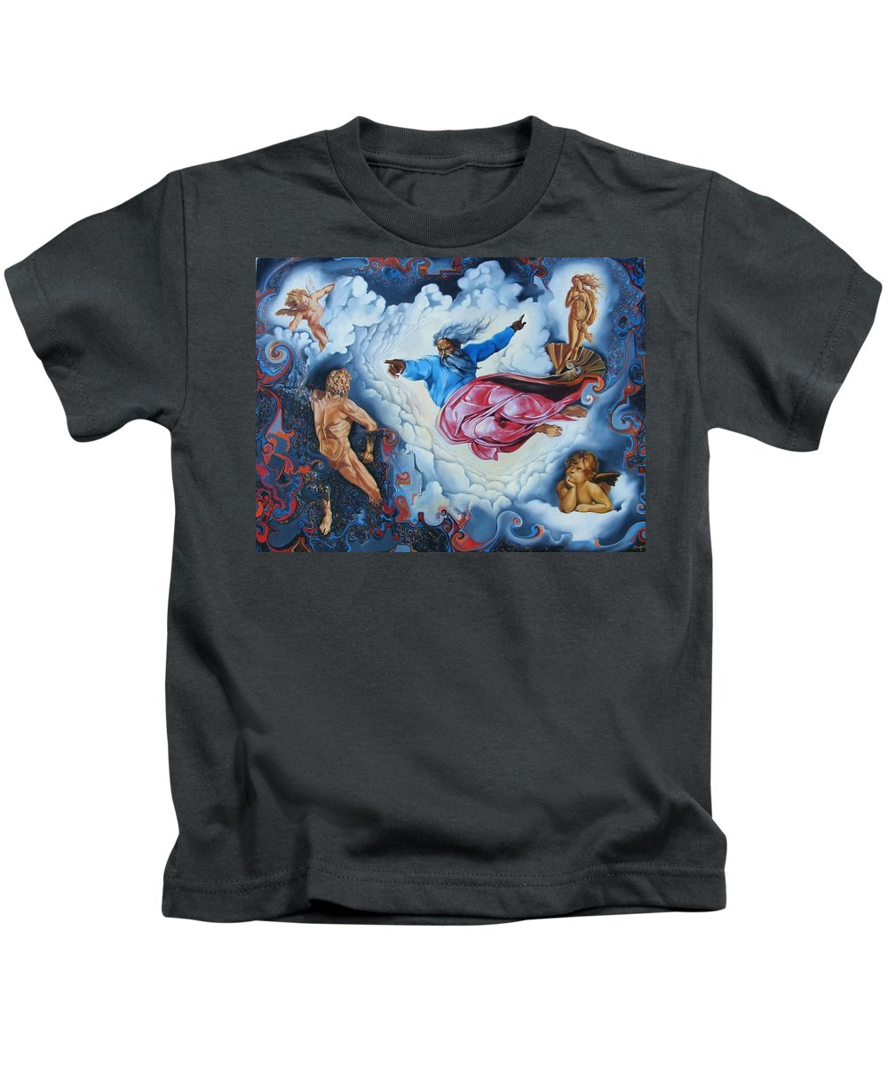 Surrealism Kids T-Shirt featuring the painting Redemption by Darwin Leon