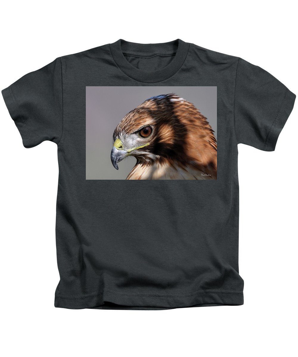 Beak Kids T-Shirt featuring the photograph Redtail Hawk by Tim Kathka