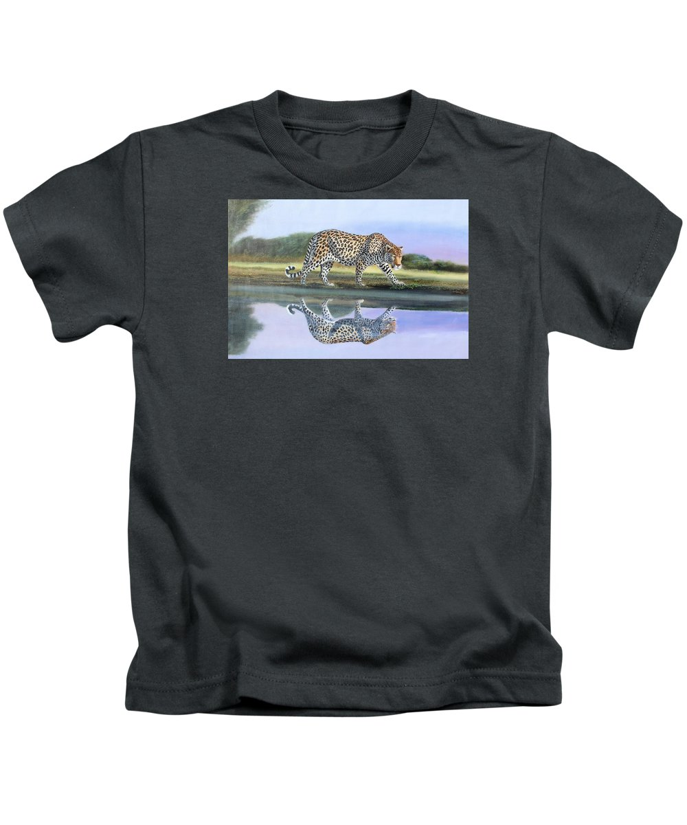 True African Art Kids T-Shirt featuring the painting Reflection Stalk by Wycliffe Ndwiga