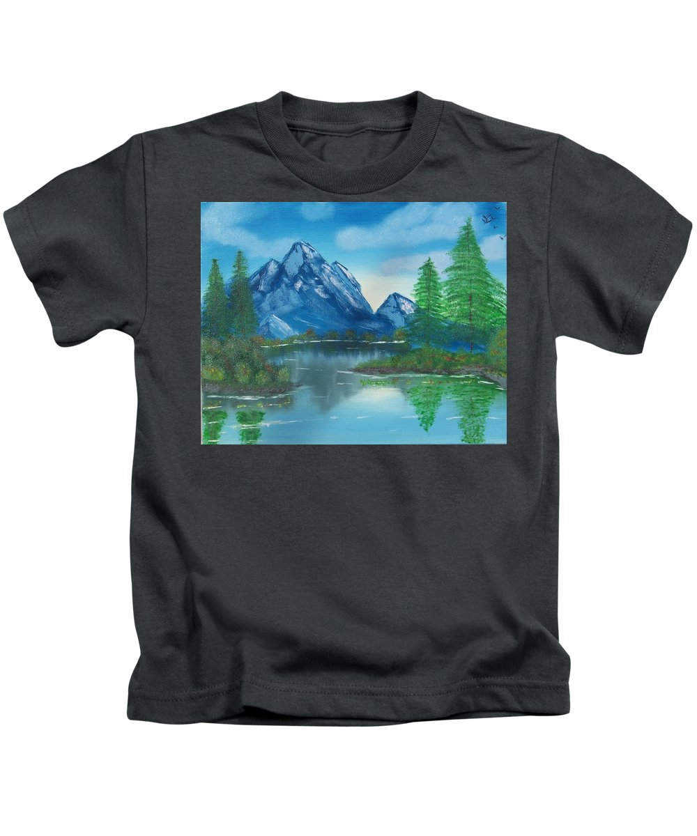Mountains Water Lake Ocean Pine Trees Reflections Kids T-Shirt featuring the painting Reflections by Lawrence Booth