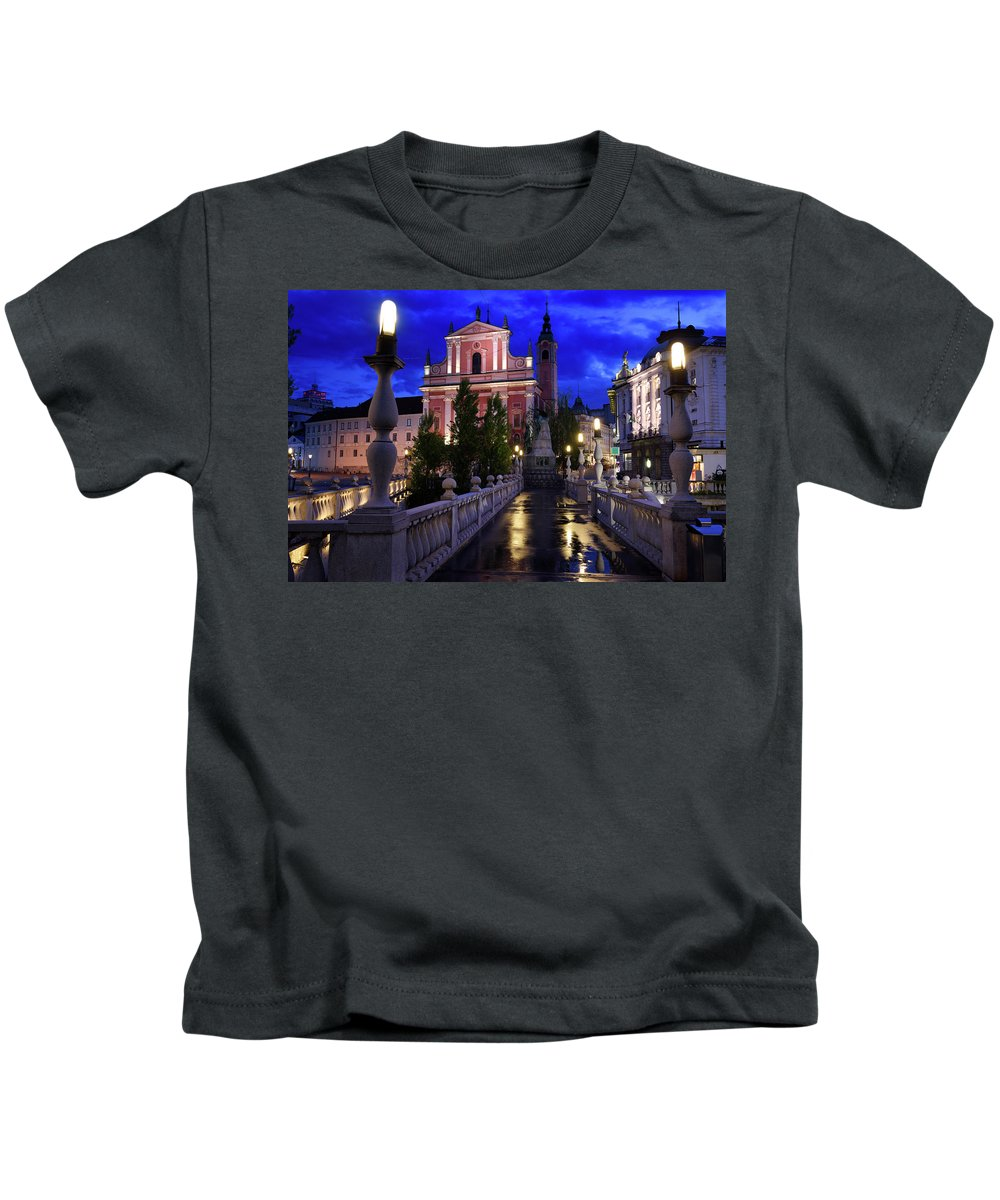 Reflections Kids T-Shirt featuring the photograph Reflections On Wet Triple Bridge After Rain At Dawn With Lights by Reimar Gaertner