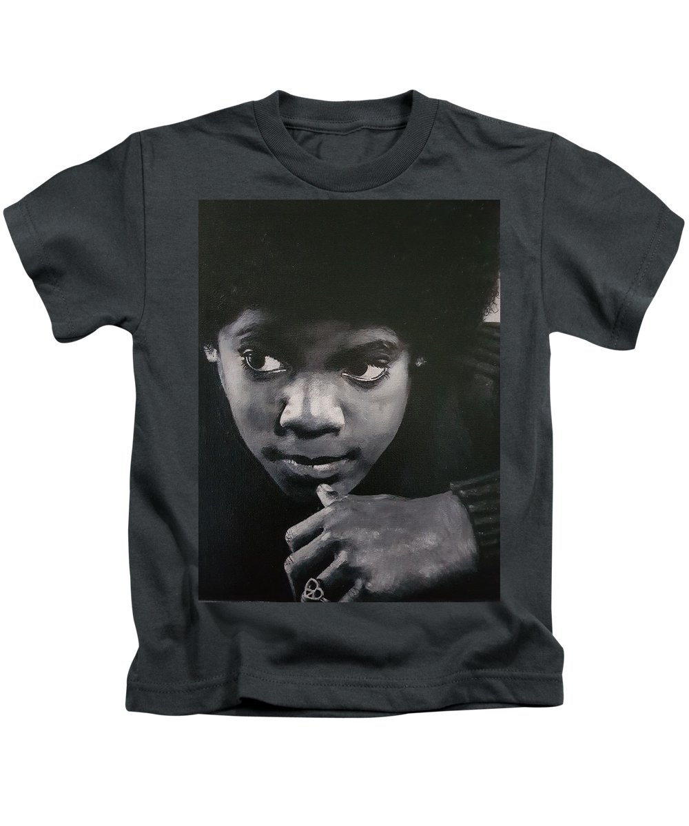 Michael Jackson Kids T-Shirt featuring the painting Reflective Mood by Cassy Allsworth