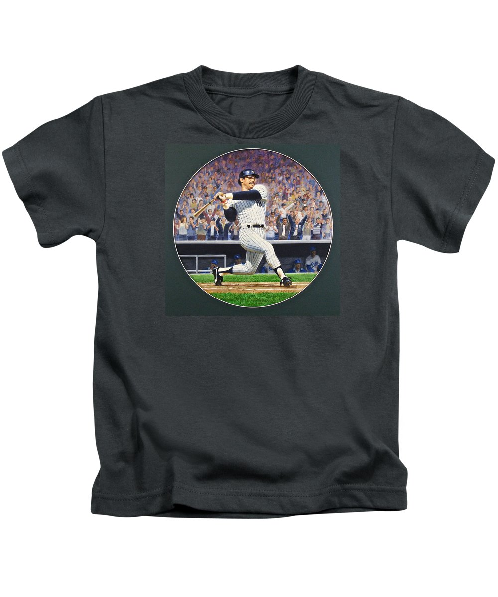 Acrylic Painting Kids T-Shirt featuring the painting Reggie Jackson by Cliff Spohn