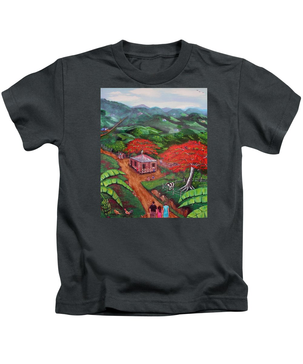 Flamboyan Kids T-Shirt featuring the painting Regreso Al Campo by Luis F Rodriguez