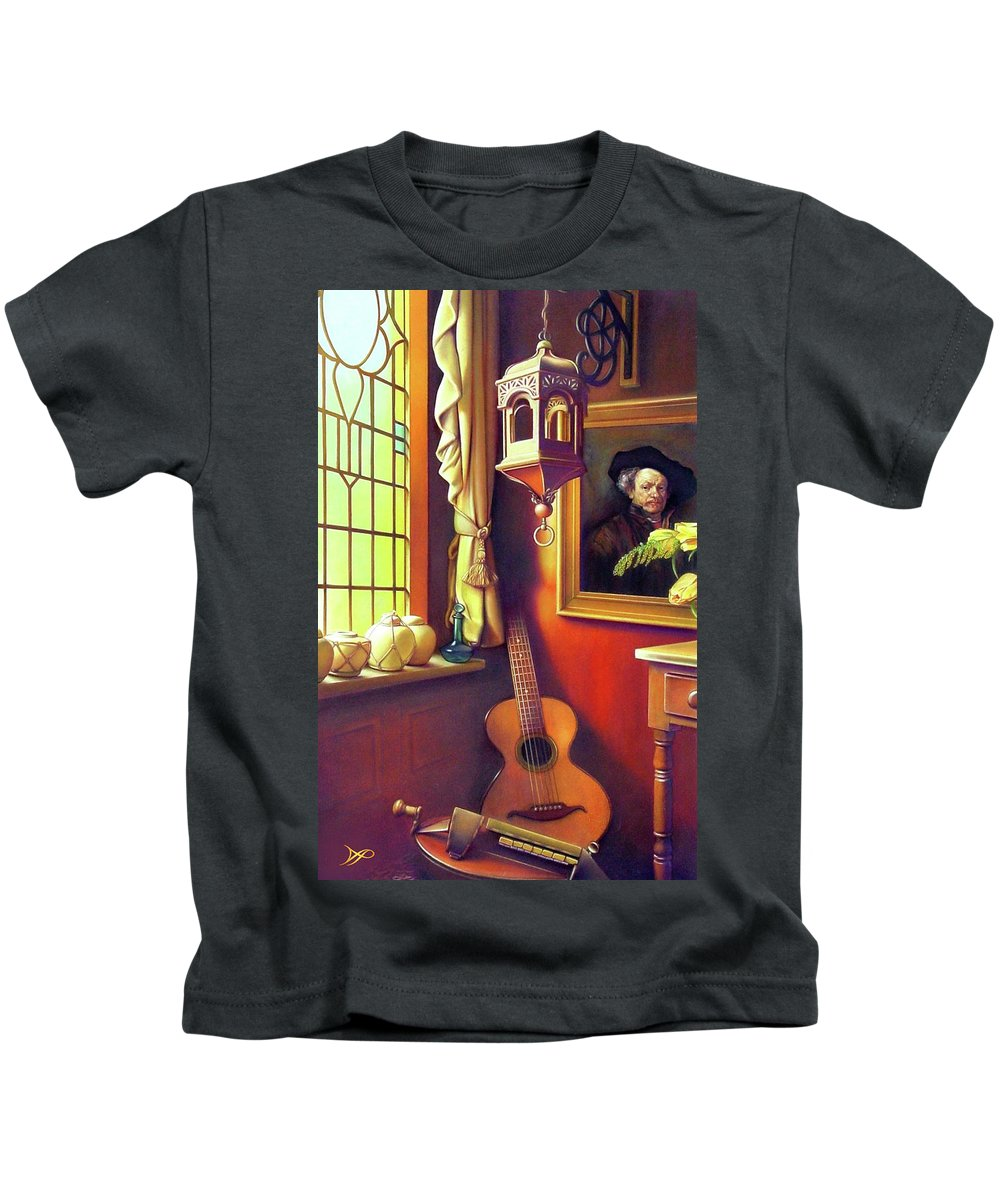 Rembrandt Kids T-Shirt featuring the painting Rembrandt's Hurdy-gurdy by Patrick Anthony Pierson