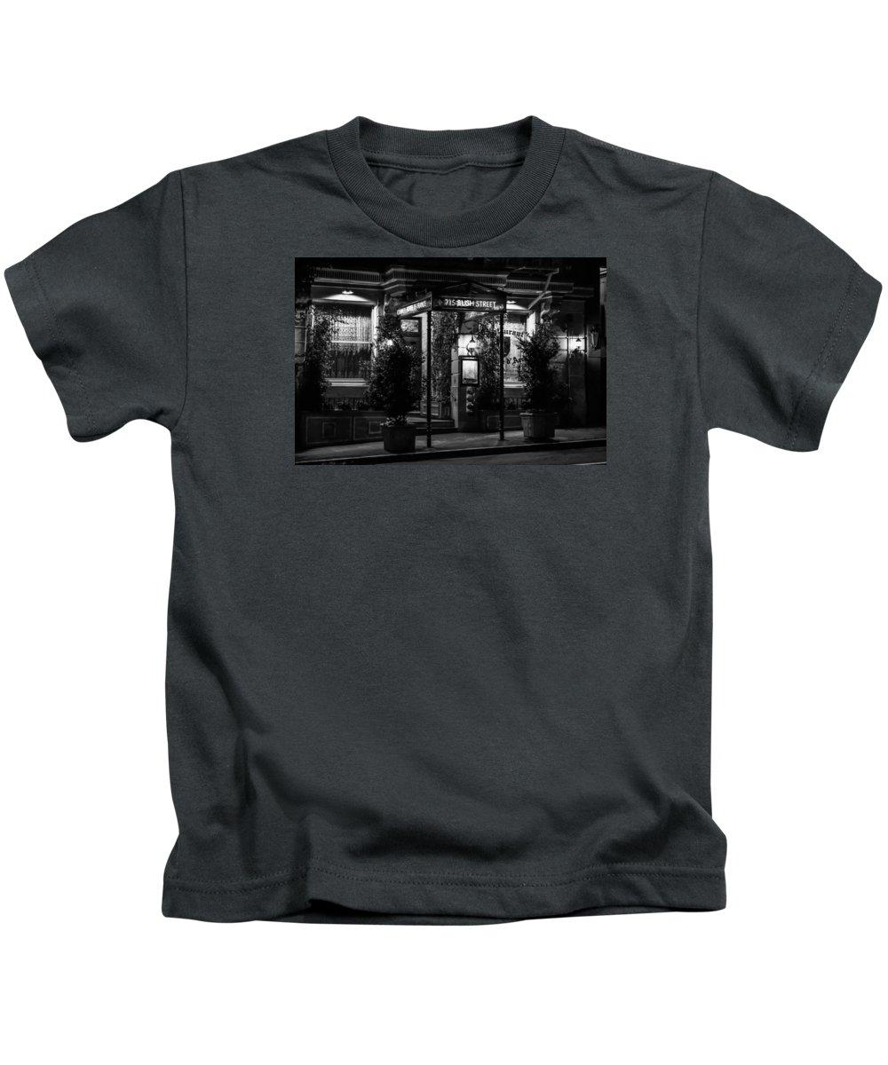 Bonnie Follett Kids T-Shirt featuring the photograph Restaurant Jeanne D'arc Bw by Bonnie Follett