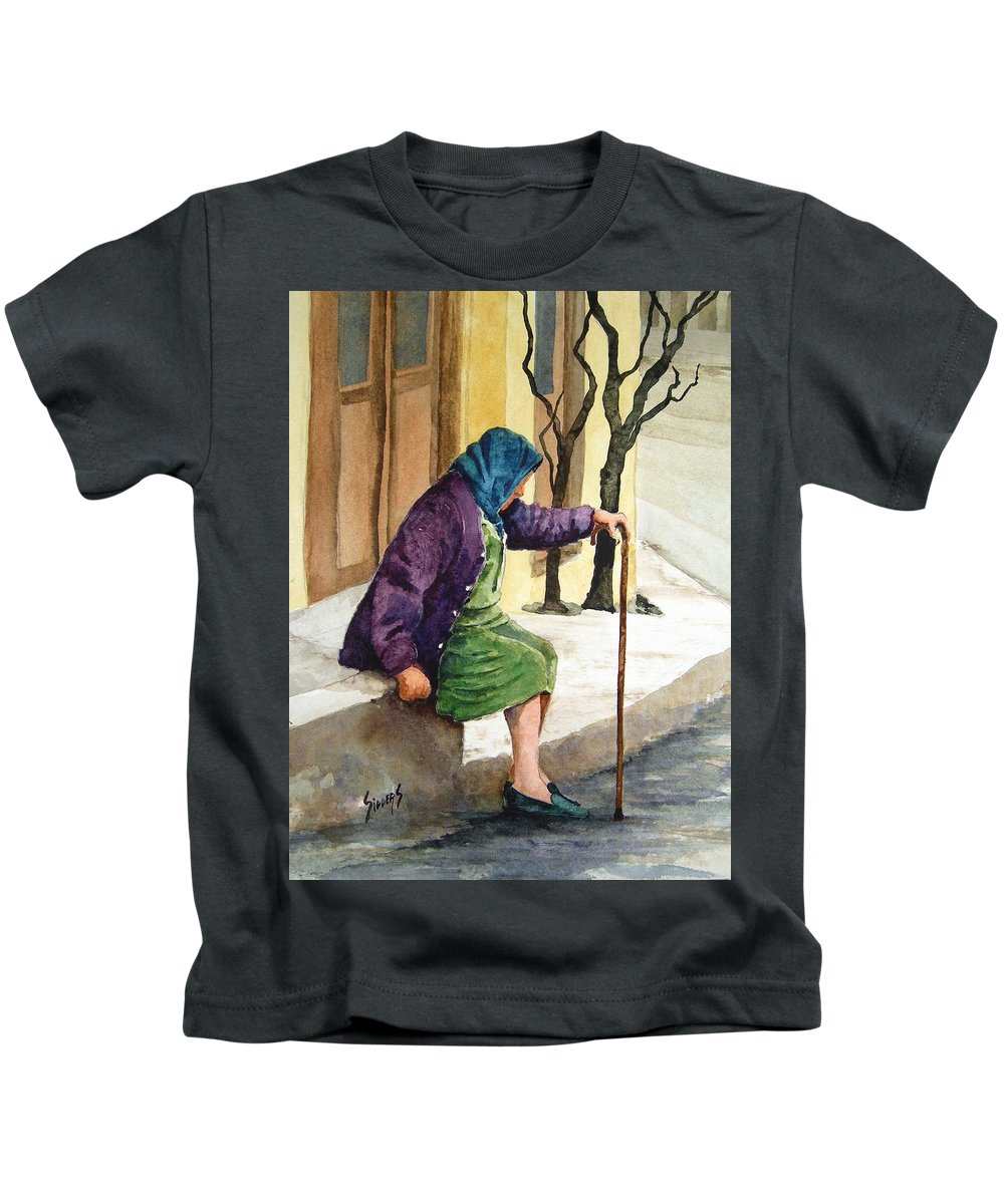 Old Lady Kids T-Shirt featuring the painting Resting by Sam Sidders