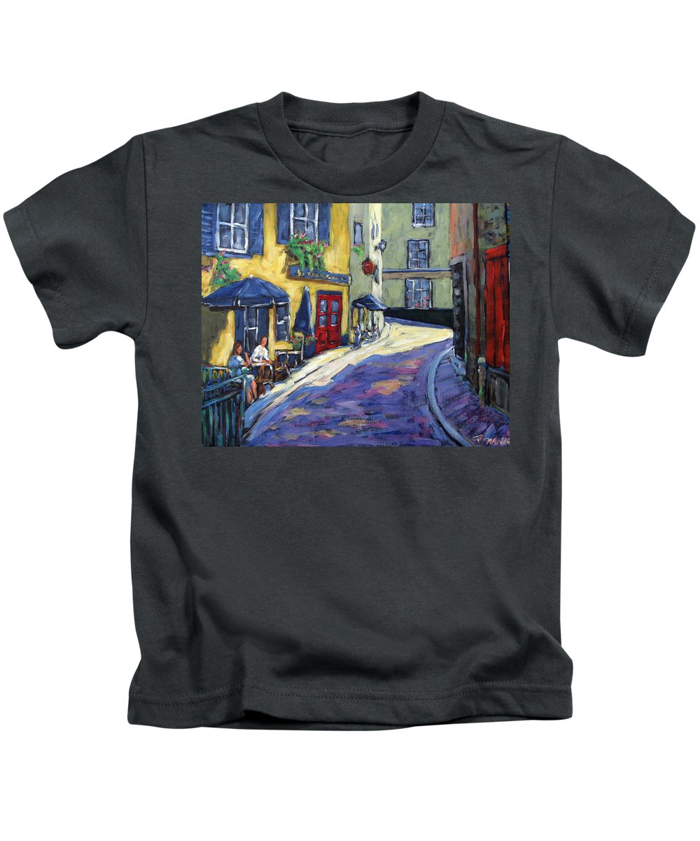 Restaurant Kids T-Shirt featuring the painting Resto Le Cochon Dingue In Old Quebec by Richard T Pranke