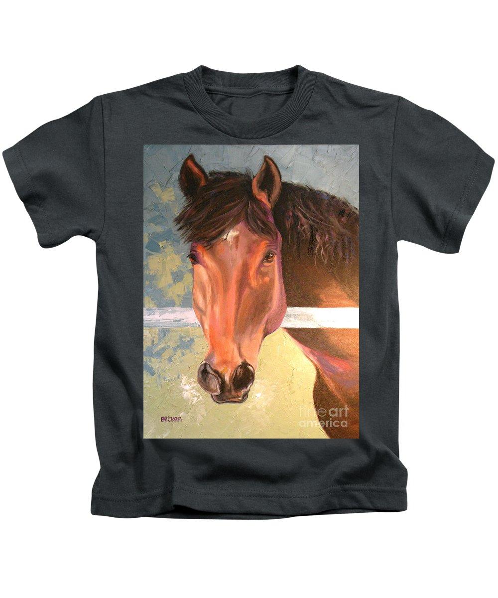 Horse Kids T-Shirt featuring the painting Reverie - Quarter Horse by Susan A Becker