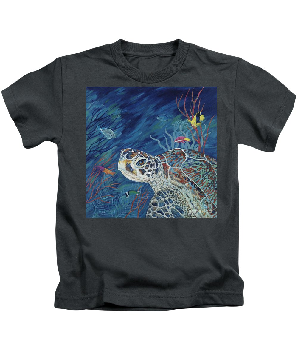Green Sea Turtle Kids T-Shirt featuring the painting Rhapsody In Blue by Danielle Perry