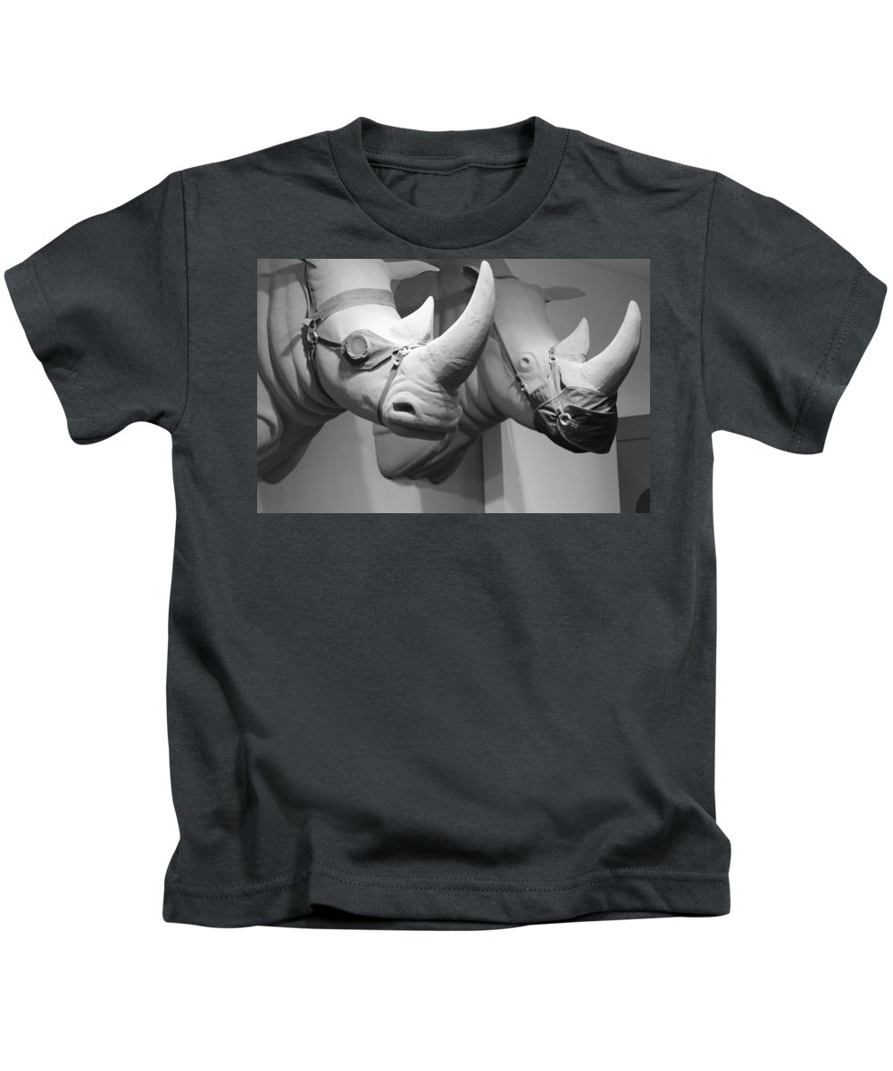 Macro Kids T-Shirt featuring the photograph Rhinos In Black And White by Rob Hans