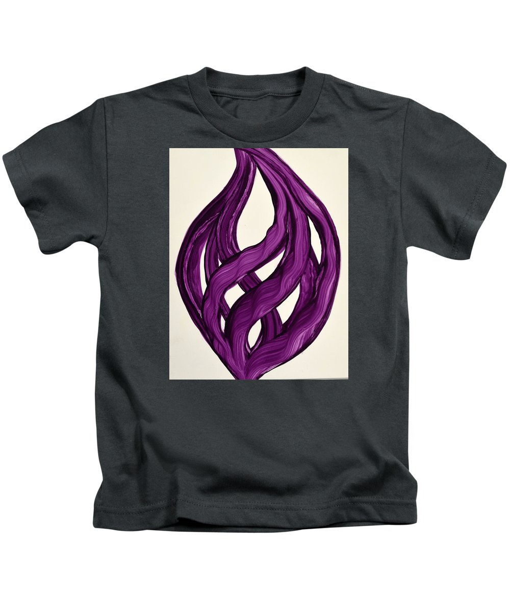Abstract Art Yupo Comtemporary Modern Pop Romantic Vibrant Kids T-Shirt featuring the painting Ribbons Of Love-violet by Manjiri Kanvinde