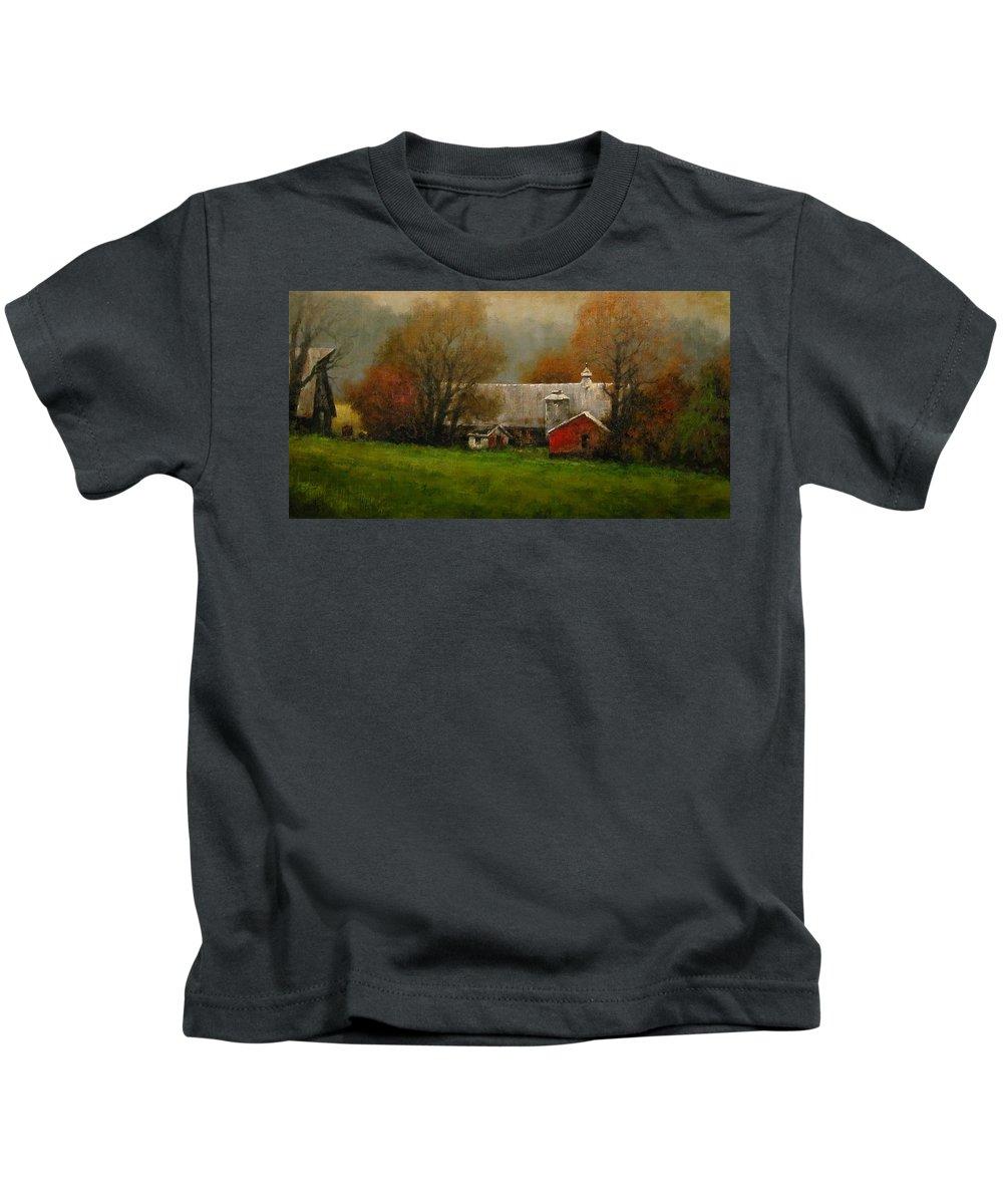 Farm Kids T-Shirt featuring the painting Ridgefield Farm by Jim Gola