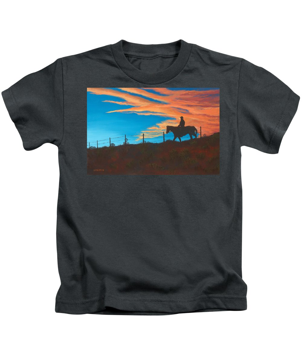 Cowboy Kids T-Shirt featuring the painting Riding Fence by Jerry McElroy