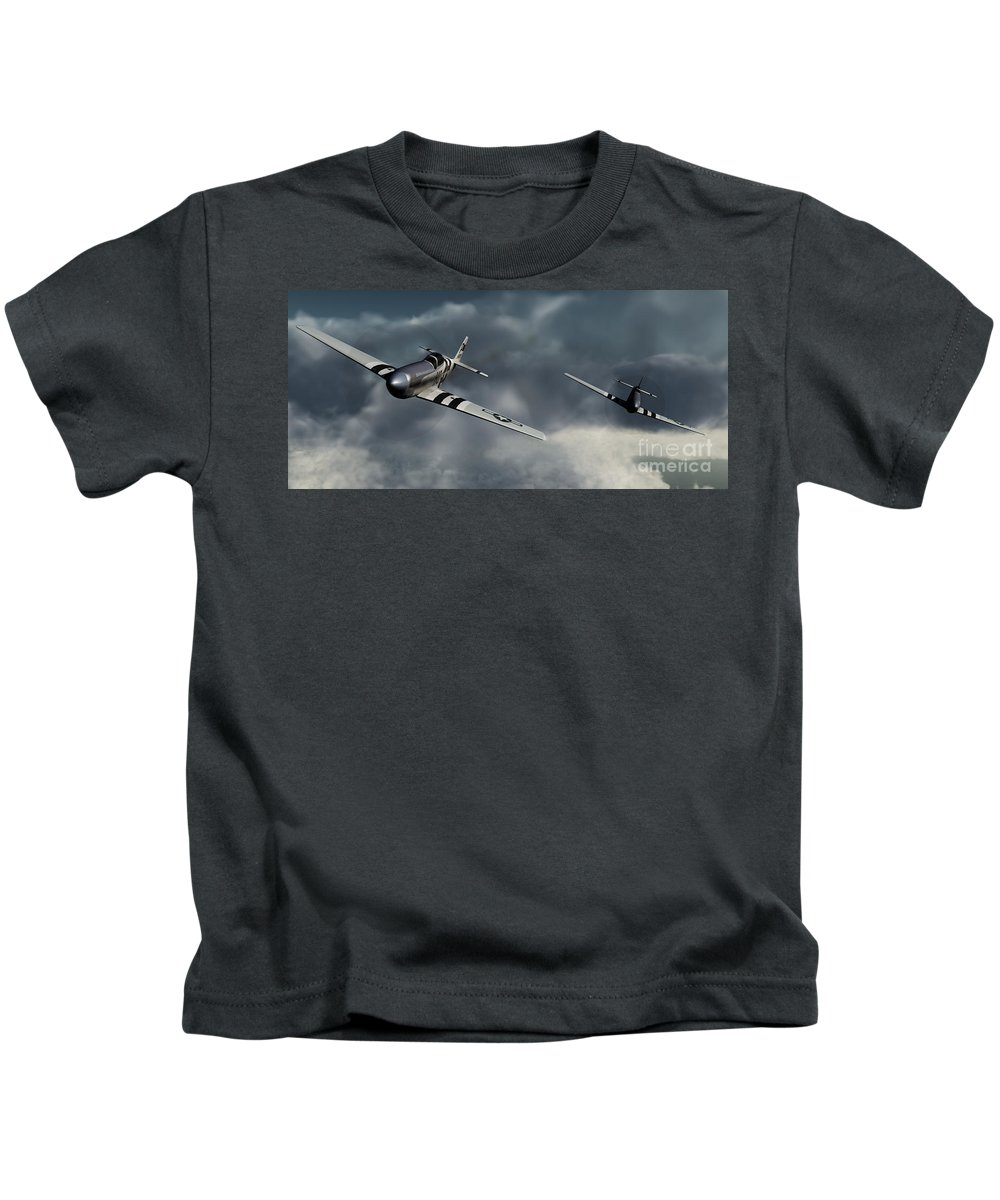 Warbirds Kids T-Shirt featuring the digital art Riding The Storm by Richard Rizzo