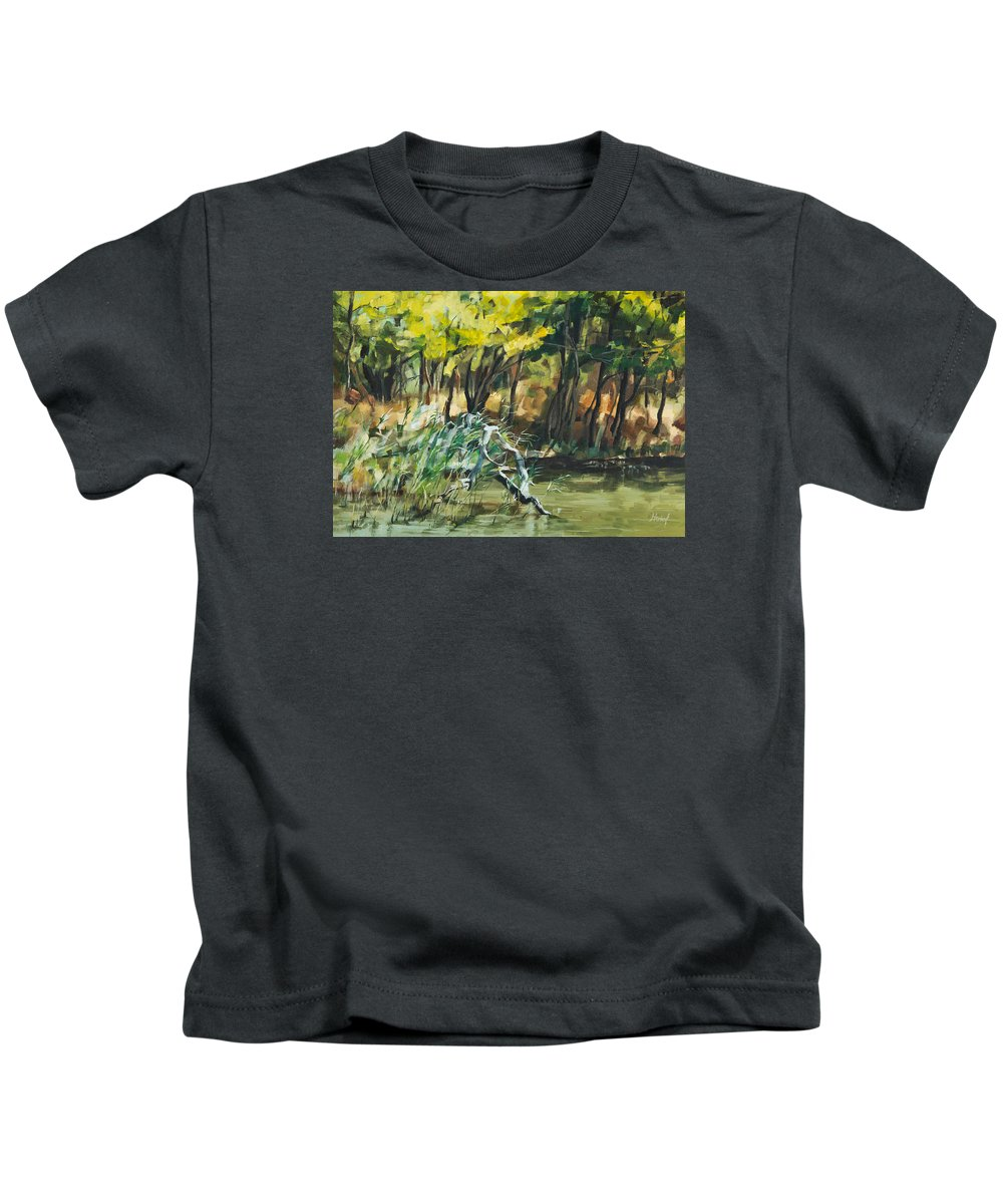 River Kids T-Shirt featuring the painting River In Summer by Maria Arnaudova