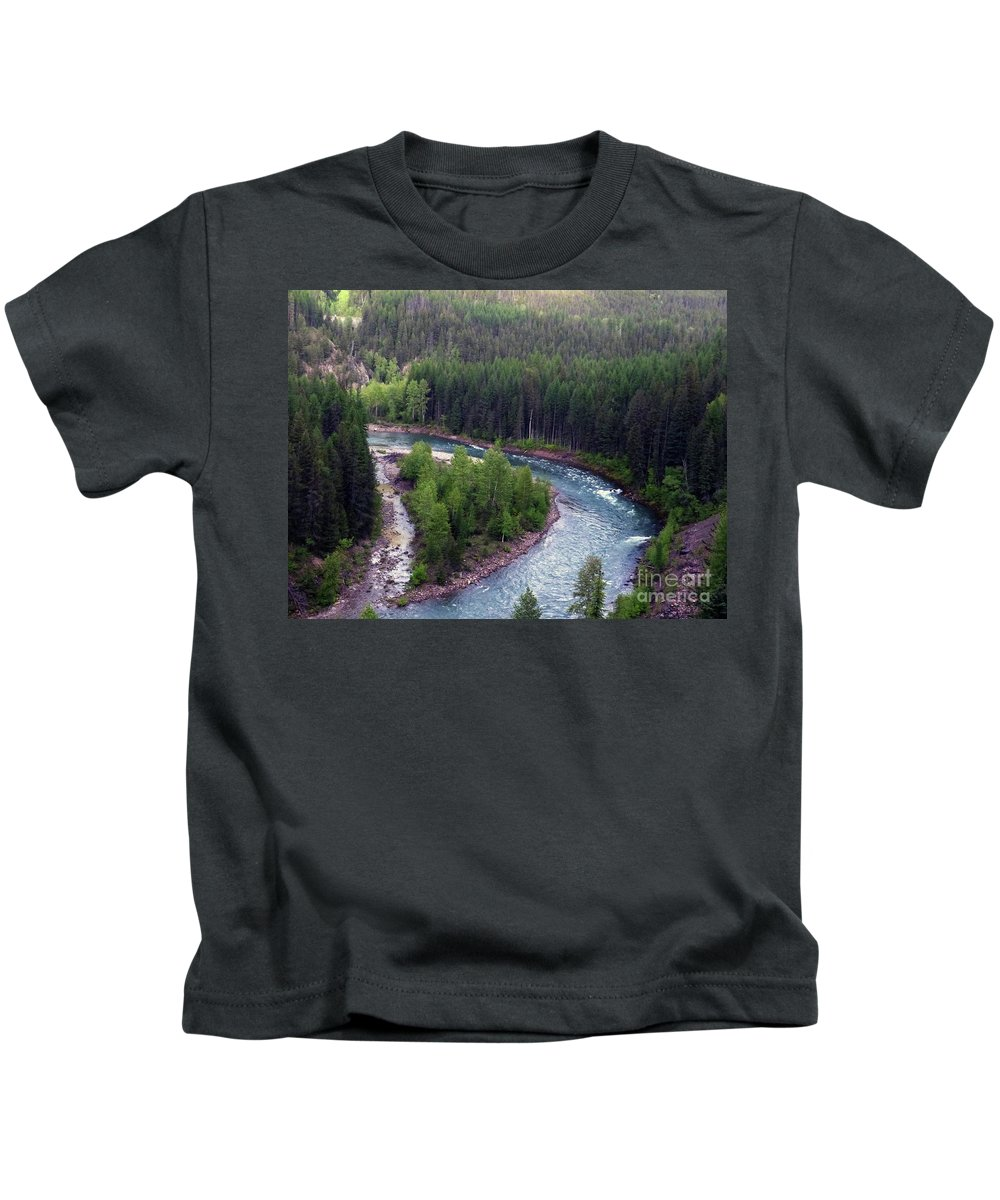 River Kids T-Shirt featuring the photograph River In Valley G by Paula Joy Welter