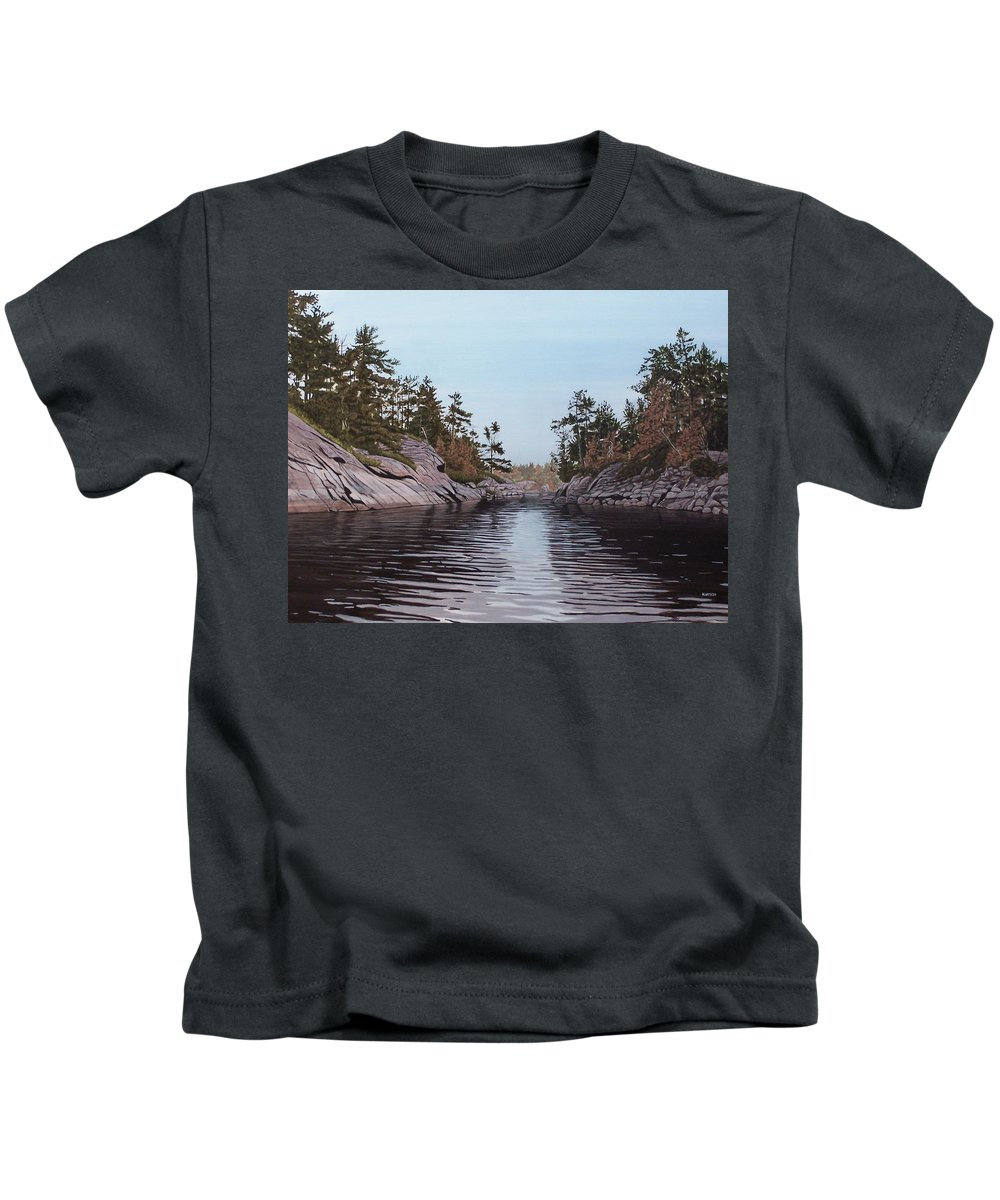 Landscapes Kids T-Shirt featuring the painting River Narrows by Kenneth M Kirsch