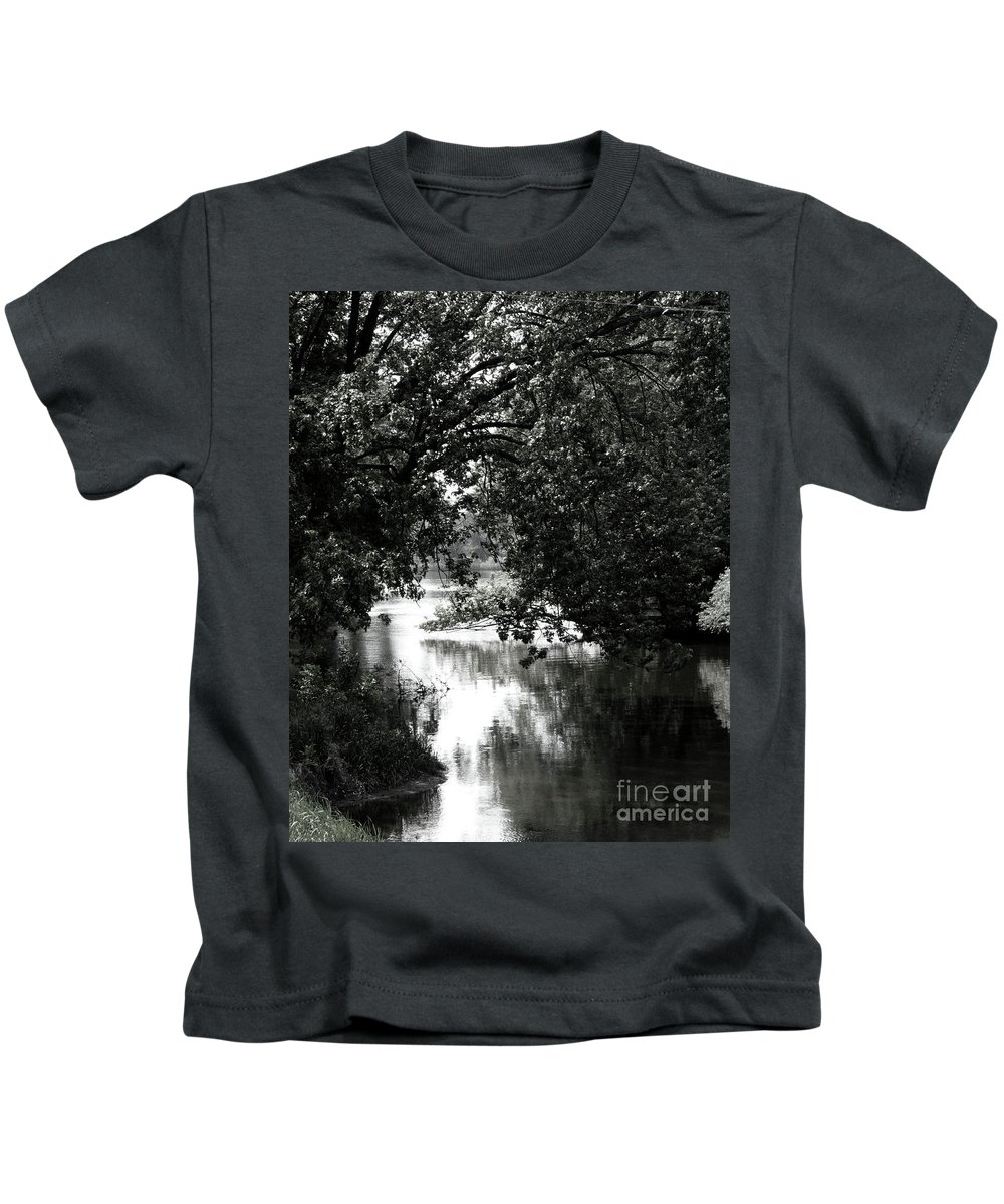 Black & White Kids T-Shirt featuring the photograph River Passage In Black And White by Paula Joy Welter