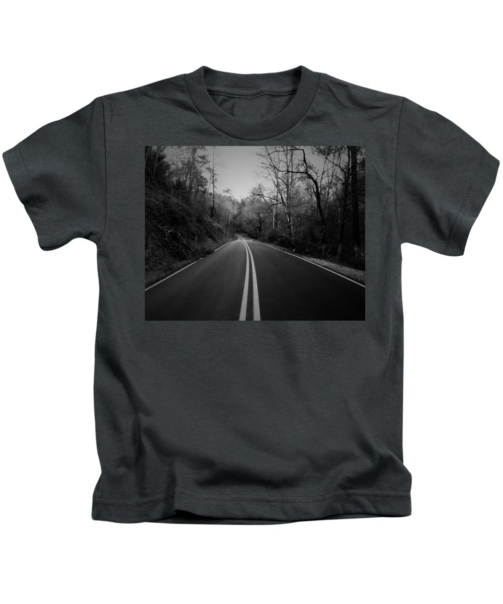 Black And White Photography Kids T-Shirt featuring the photograph River Road One by Lynn Terry