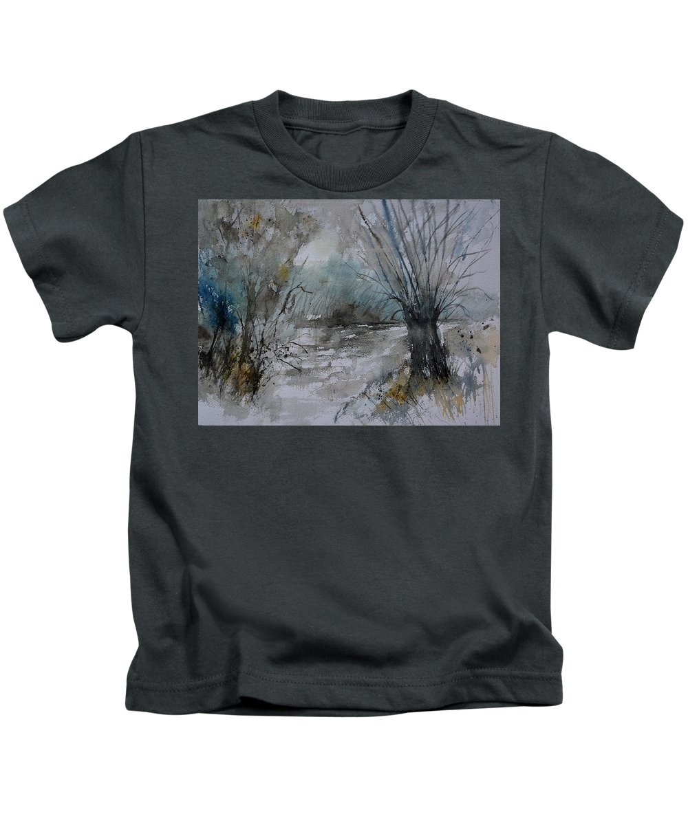 Landscape Kids T-Shirt featuring the painting River Watercolor 711082 by Pol Ledent