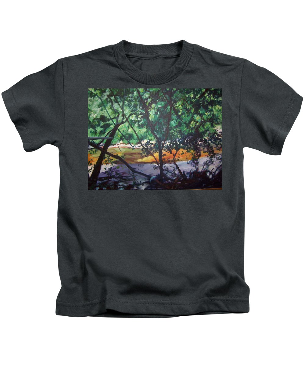 Landscape Kids T-Shirt featuring the painting Riverjewels by Sheila Holland