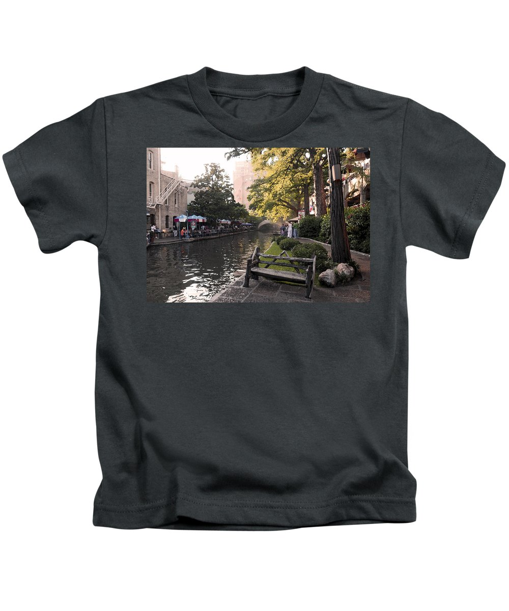 Impressionism Kids T-Shirt featuring the photograph Riverwalk Iv by Steven Sparks