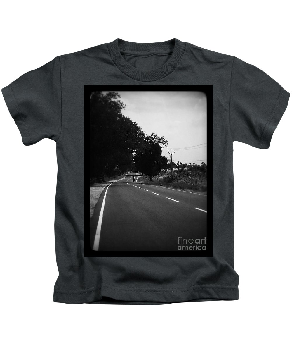 Black And White Kids T-Shirt featuring the photograph Road To Eternity by Hari Prakkash