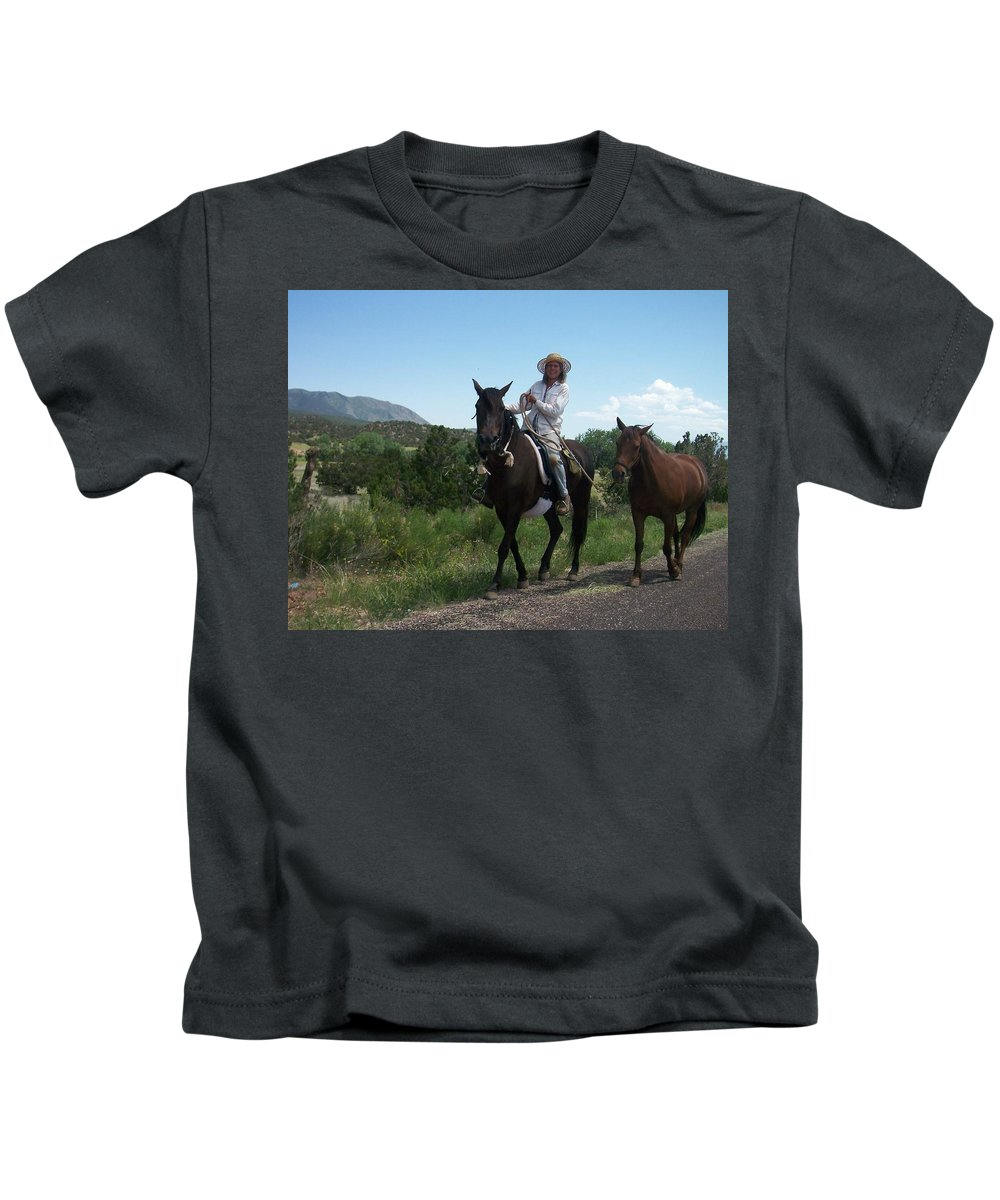 Horses Kids T-Shirt featuring the photograph Roadside Horses by Anita Burgermeister