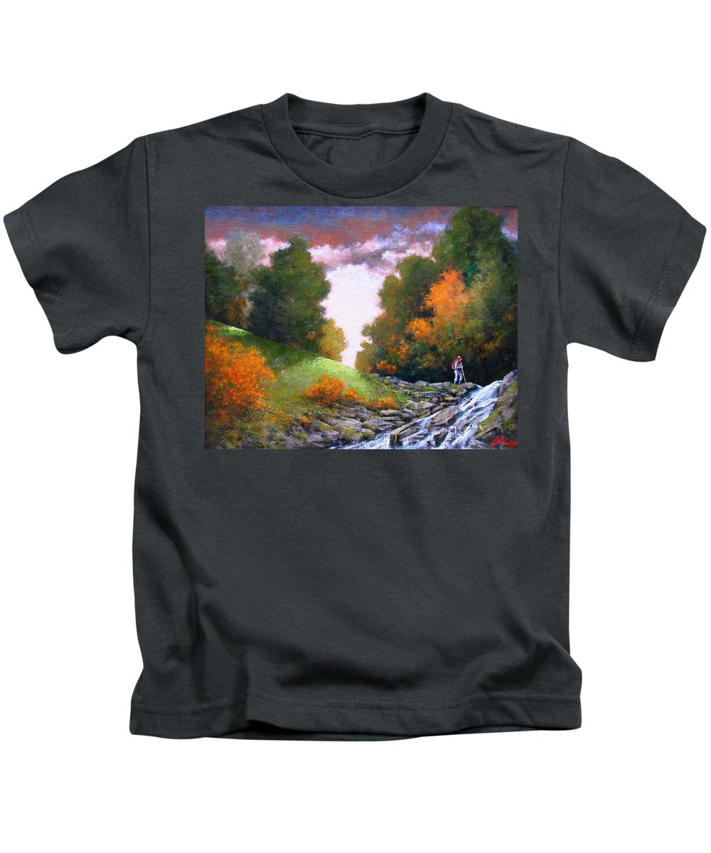 Artist Kids T-Shirt featuring the painting Rock Creek by Jim Gola