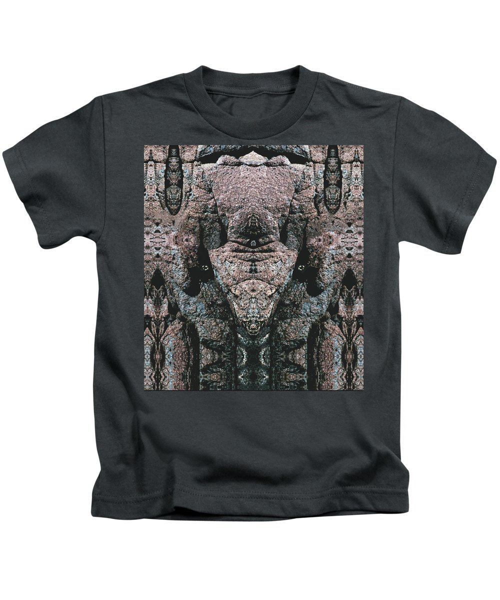 Rocks Kids T-Shirt featuring the digital art Rock Gods Elephant Stonemen Of Ogunquit by Nancy Griswold