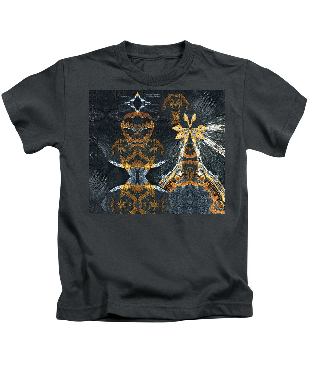 Rocks Kids T-Shirt featuring the digital art Rock Gods Lichen Lady And Lords by Nancy Griswold