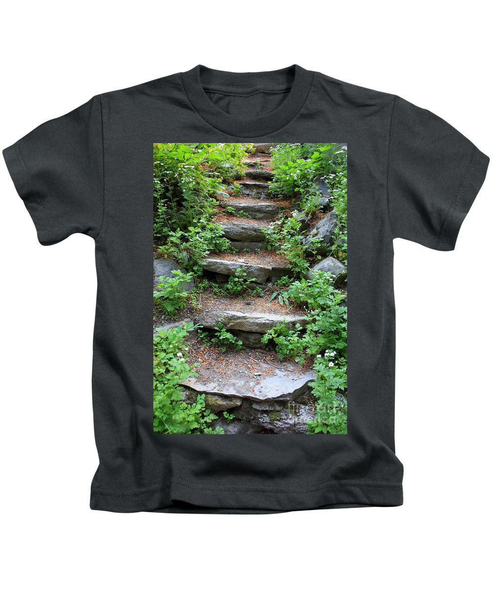Rock Stairs Kids T-Shirt featuring the photograph Rock Stairs by Carol Groenen
